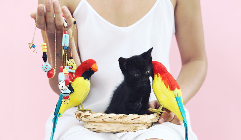 Cats in hats and charming jewels: Rakky's new lookbook by Churche